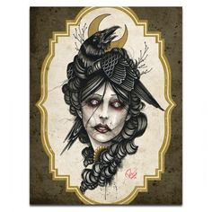 """Crow Girl"" Print by Mindzai Creative #inked #inkedshop #inkedmagazine #decor #art"