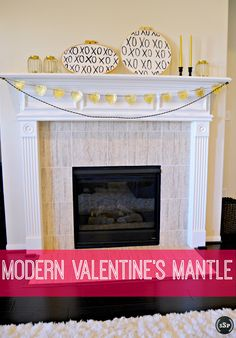 #DIY Gold Heart Garland & Black & Gold #ValentinesDay #Mantle | http://sliceofsouthernpie.com