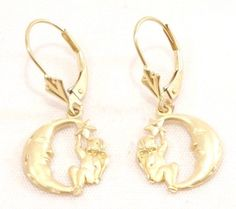 14k Solid Gold Earrings Drop Hanging Cherub Angel Star Moon Detailed Unique #DropDangle