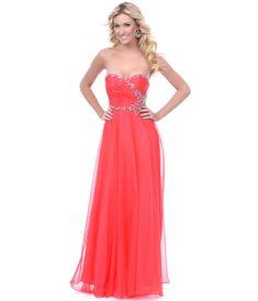 Coral Chiffon Rhinestone Strapless Prom Dress