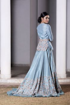 Ice Blue hand embroidered trail lehenga with a jacket set. Fabric: Raw Silk Care: Dry Clean Only Indian Bridal Outfits, Indian Designer Outfits, Designer Dresses, Indian Gowns Dresses, Pakistani Dresses, Gown With Jacket, Lehnga Dress, Sharara Suit, Elegant Outfit