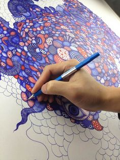 What beautiful zentangle Art Doodles Zentangles, Zentangle Patterns, Diy Collage, Stylo Art, Ballpoint Pen Art, Pen Illustration, Painting & Drawing, Drawing S, Drawing Ideas