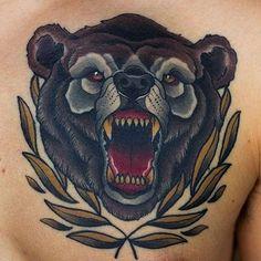 Bear tattoo.