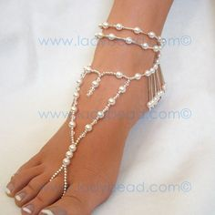 Sterling Silver Pearl Jewelry - Pair of Long Heart Pearl and Sterling Silver Fringe Foot Jewlery