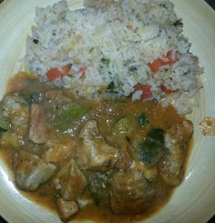 Pork , squash And green chili with arojes
