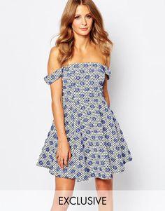 Millie Mackintosh Off Shoulder Dress in Blue Jacquard