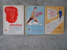 DDR-Reklame-Schild-50-60er-Jahre-Drogerie-3x-SCHWEX-FUSSFLOTT-ATHLETISAN