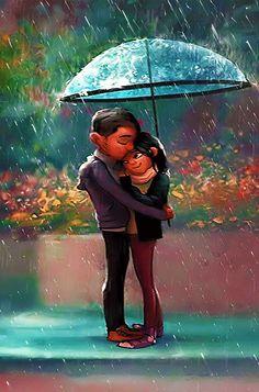 Mimi Gif: love in the rain Cute Anime Couples, Couples In Love, Romantic Couples, Girl In Rain, Dancing In The Rain, Cute Couple Cartoon, Cute Couple Videos, Couple In Rain, Rain Cartoon