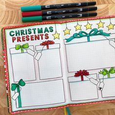 My Bullet Journal Christmas presents bullet journal page by Kate Hadfield – artsy bujo layouts and ideas!Christmas presents bullet journal page by Kate Hadfield – artsy bujo layouts and ideas! Bullet Journal December, 2017 Bullet Journal, Bullet Journal Christmas, Bullet Journal Monthly Spread, Bullet Journal Notebook, Bullet Journal Aesthetic, Bullet Journal Themes, Bullet Journal Layout Ideas, Bullet Journals