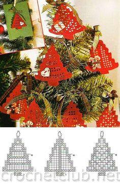 Crochet Christmas ornament crochet by SevisMagicalStitches on Etsy by loretta - Salvabrani - SalvabraniDiana fiehorgolas karacsony - Barbara H.Crochet Сhristmas tree ornaments, Xmas tree decorations, set of New Year decor, wall or decor hanging, whi Crochet Christmas Decorations, Xmas Tree Decorations, Christmas Tree Pattern, Crochet Christmas Ornaments, Christmas Crochet Patterns, Holiday Crochet, Noel Christmas, Crochet Tree, Crochet Angels
