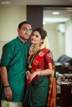 Wedding couple dress combination 21 Ideas for 2019 Engagement saree Kerala Wedding Saree, Kerala Bride, Kerala Saree, South Indian Sarees, South Indian Bride, Saree Wedding, Indian Bridal, Marathi Wedding, Bridal Sari