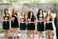 "Clearly none of these girls weren't in sororities...""ok girls, for my wedding, pull out those ol' PREF NIGHT DRESSES!!! plus flowers"" NO.WAY. black bridesmaid dresses mix and match"