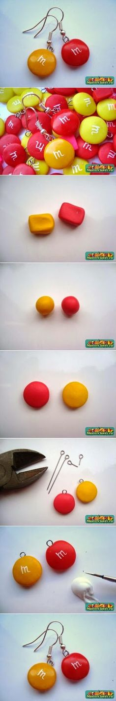 Air Dry Clay Tutorials: Make These M&M Earrings