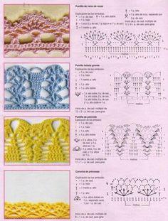 No pierda esta selección de puntos de fantasía en crochet. Más de 70 puntos que puede aprender a hacer, con los gráficos, y que pueden ayudar en sus proyectos en crochet. Las imágenes fueron t