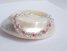 Swarovski crystal and silver chainmaille bracelet by ParkhillDesigns on Etsy