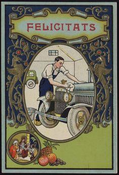 Felicitats [El Renta-cotxes]. Segle XX. Fons Palau Antiguitats. #Nadal #Christmas #greeting #card