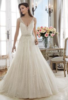 Courtesy of Sophia Tolli Wedding Dresses; Wedding dress idea.