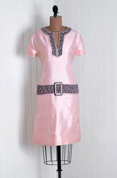 1960's Vinchi Pink Silk Shantung beaded Trim Minidress
