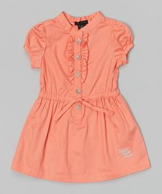 Orange Button-Up Dress - Infant, Toddler & Girls by Calvin Klein Jeans #zulily #zulilyfinds