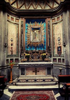 Madonna di Guadalupe  The chapel of Our Lady of Guadalupe in the basilica of San Nicola in Carcere, Rome. The image was brought to Rome from Mexico in 1773