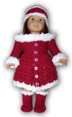 """American Girl or 18"""" Doll Holiday / Christmas Outfit Crochet Pattern for sale. $4.99"""