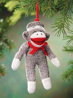Sock Monkey Ornament for 2013 Christmas, Gray Sock Monkey Ornament for kids