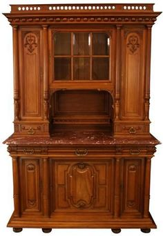 1900 French Renaissance Buffet Elegant Carved Walnut Marble Glass Pane Door