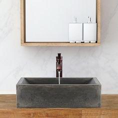 Vardaman Rectangular Cast Concrete Vessel Sink - Natural – Magnus Home Products Small Bathtub, Small Bathroom, Natural Bathroom, White Bathrooms, Luxury Bathrooms, Master Bathrooms, Downstairs Bathroom, Dream Bathrooms, Beautiful Bathrooms
