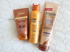 Drugstore product regimen to create a natural looking tan glow.