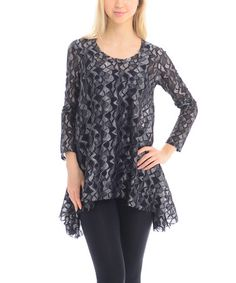 Black & Silver Abstract Sidetail Top - Women #zulily #zulilyfinds