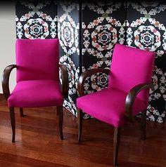 Pink chairs.