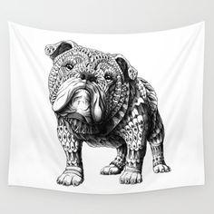 English Bulldog Wall Tapestry. #drawing #graphite #ink/pen #other #black-white #illustration #bulldog #english-bulldog #english #dog #bull #bioworkz #ornate #mandala #canine #pet