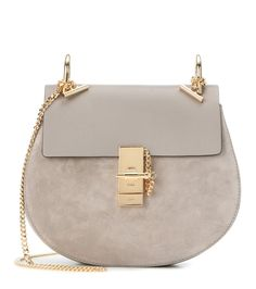Chloé - Drew Small leather and suede shoulder bag - We love this chic light  grey 225901991b7b