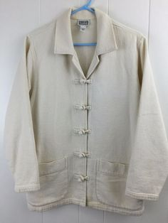 Chico's Design 1 Women's #Jacket Heavy Cotton Knot Button Creamy Off White S M 8 10 #Chicos
