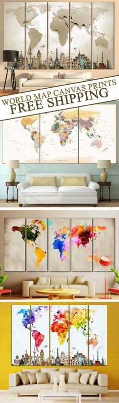 Creative World Map Canvas Prints Wall Art for Large Home or Office Wall decoration. SAVE up to -33% OFF your entire purchase TODAY!