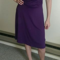 Cute dress Purple one shoulder dress. Gathered at waist. Double strap on one (L) shoulder. Very comfortable. Stretchy. Dresses