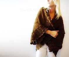 Big Chocolate Brown Cardigan by LoveandKnit on Etsy, $125.00