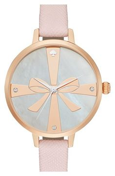 kate spade new york kate spade new york 'metro - strapped up' leather strap watch, 34mm available at #Nordstrom