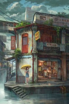 """Find and save images from the """"Fantasy places"""" collection by FANTASY on We Heart It, your everyday app to get lost in what you love. Arte 8 Bits, Japon Illustration, Anime Scenery Wallpaper, Environment Concept Art, Fantasy Landscape, City Art, Pretty Art, Anime Art Girl, Anime Guys"""