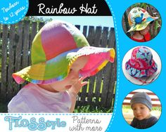 RAINBOW HAT Pattern Boys Girls Straight Brim / Ruffle Brim / Beanie. Reversible, Lined, Unlined Options Newborn to Teenager sizes PDF Extras