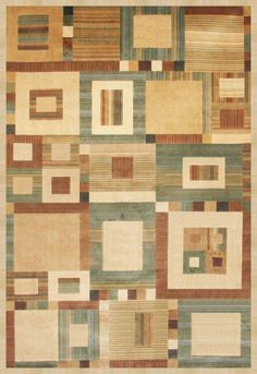 Casa Circles And Squares 5u0027 X 8u0027 Area Rug   Brown And Beige   Modern Living  Room Decor, Rustic Contemporary And City Furniture