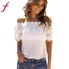 9d55a88bea Sexy Women Off Shoulder Blouse 2017 Fashion Beachwear Casual Tops Lace  White Chiffon Crochet Shirt