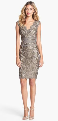 Stylish party dress with matching high heels - Tadashi Shoji Embellished Metallic Lace Sheath Dress- at Nordstrom Supernatural Style Fashion Mode, Look Fashion, Dress Fashion, Lifestyle Fashion, Party Fashion, Fashion Photo, Fashion Beauty, Fashion Trends, Lace Sheath Dress