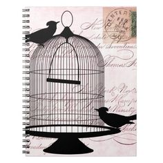 Bird and Cage Steampunk Spiral Notebooks