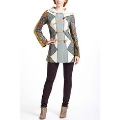 Anthropologie Harlequin Patchwork Sweater Held onto this for awhile but never wore it! Beautiful, heavy knit sweater coat >>> cotton, wool, acrylic, polyester, alpaca, mohair >>> cotton, modal lining >>> An oldie but goodie, By Charlie & Robin Anthropologie Sweaters