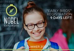 9 days left to register your student for Nobel Explorer program and receive 15% discount. Explore the projects at www.nobelexplorers.com and enroll using a promo code: EARLYBIRDS. #nobelcoaching #nobelexplorers #education #elearning #online #development #growth #projects #pbl