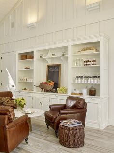 Custom shelves in the spa lobby
