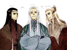 """Elrond, Celeborn, and Thranduil from """"Lord of the Rings""""/""""The Hobbit"""" - Art by Tenra:"""