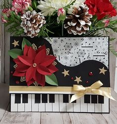 Piano card home made poinsettia stampin up music note paper stars joy to the world music stampin up home made
