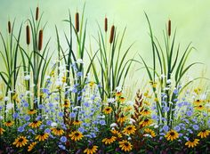 """""""August Cattails"""" 36 """" x Acrylic on Canvas by Jordan Hicks, available at Crescent Hill Gallery in Mississauga, ON Spring Painting, Daisy Painting, Sunflower Art, Background Pictures, Nature Images, Photo Art, Art Projects, Artwork, Acrylics"""